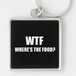 WTF Wheres The Food Silver-Colored Square Keychain