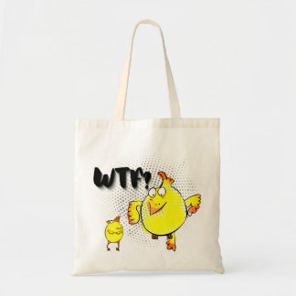 """WTF?"" with yellow doodle chicken character"