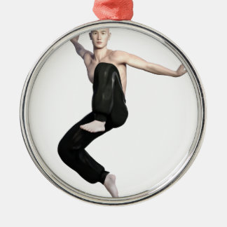 Wu Shu Form about to kick to the front Silver-Colored Round Ornament
