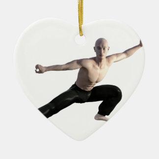Wu Shu Form Right Leg Extended Ceramic Heart Ornament