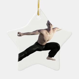 Wu Shu Form Right Leg Extended Ceramic Star Ornament