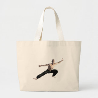 Wu Shu Form Right Leg Extended Large Tote Bag