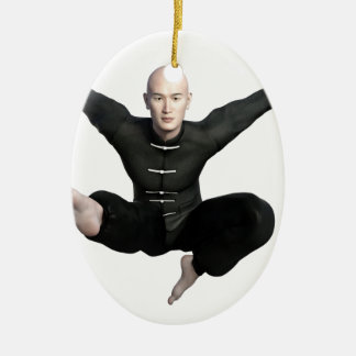 Wu Shu form with flying kick to the front Ceramic Oval Ornament