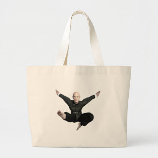 Wu Shu form with flying kick to the front Large Tote Bag