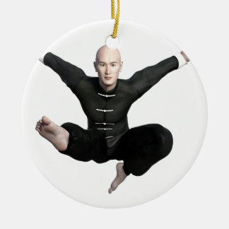 Wu Shu form with flying kick to the front Round Ceramic Ornament