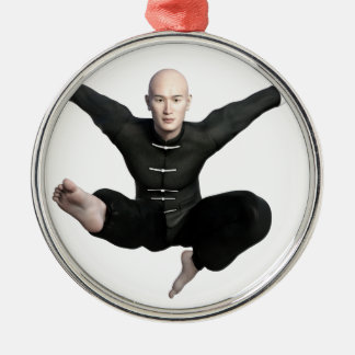 Wu Shu form with flying kick to the front Silver-Colored Round Ornament