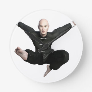 Wu Shu form with flying kick to the front Wall Clock