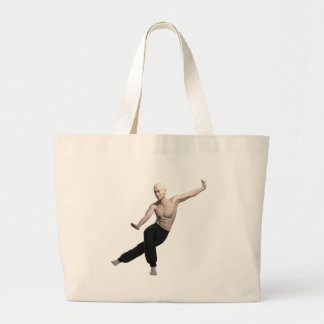 Wu Shu form with legs split and looking right Large Tote Bag