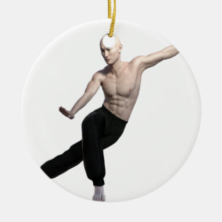 Wu Shu form with legs split and looking right Round Ceramic Ornament