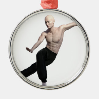 Wu Shu form with legs split and looking right Silver-Colored Round Ornament