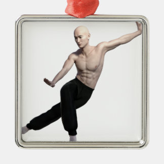 Wu Shu form with legs split and looking right Silver-Colored Square Ornament