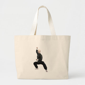 Wu Shu form with squat Large Tote Bag