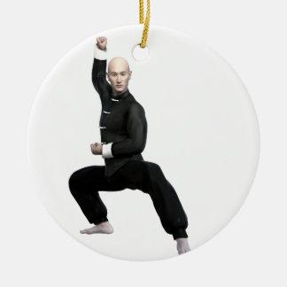 Wu Shu form with squat Round Ceramic Ornament