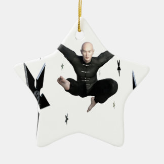 Wu Shu with flying kick to the front and Shuriken Ceramic Star Ornament