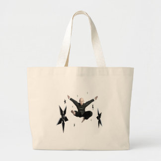 Wu Shu with flying kick to the front and Shuriken Large Tote Bag
