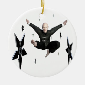 Wu Shu with flying kick to the front and Shuriken Round Ceramic Ornament