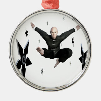 Wu Shu with flying kick to the front and Shuriken Silver-Colored Round Ornament