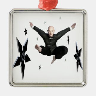 Wu Shu with flying kick to the front and Shuriken Silver-Colored Square Ornament