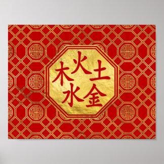 Wu Xing 5 elements Feng Shui Symbol Poster