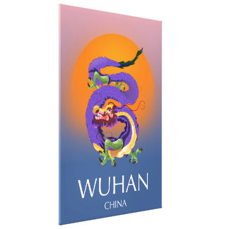 Wuhan China Dragon travel poster Canvas Print
