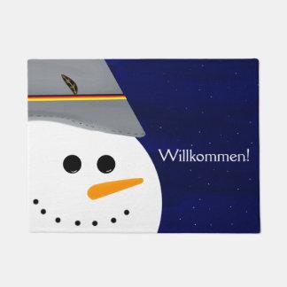 Wunderschöner Schneeman mit Seppel Hut Doormat