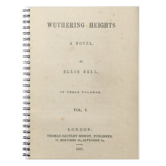 Wuthering Heights Original 1847 Book Cover Spiral Note Book