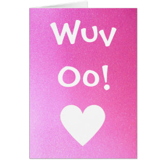 Wuv Oo! (Love You) Pink Sparkle Card