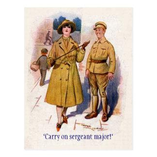 """WW1 """"Carry on"""" Postcard"""
