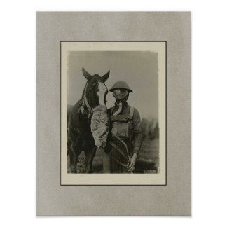 WW1 Soldier and Horse with Gas Mask Patriotic Poster