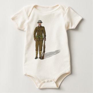 WW1 soldier Marine Sketch Baby Bodysuit