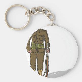 WW1 soldier Marine Sketch Basic Round Button Keychain