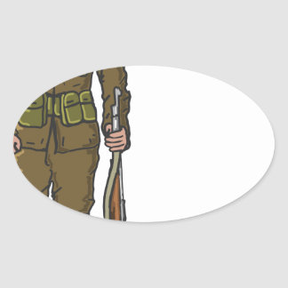 WW1 soldier Marine Sketch Oval Sticker