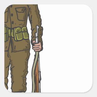 WW1 soldier Marine Sketch Square Sticker