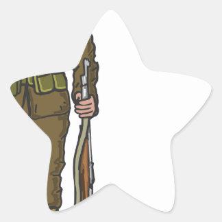 WW1 soldier Marine Sketch Star Sticker