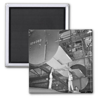 WW2 Airplane Factory, 1940s Square Magnet
