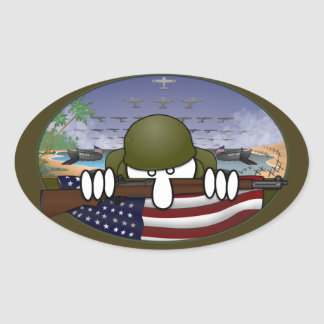 WW2 Kilroy Oval Sticker