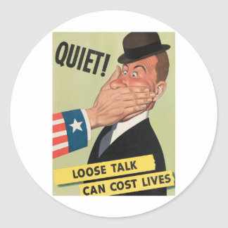 WW2 Propaganda Poster Round Sticker