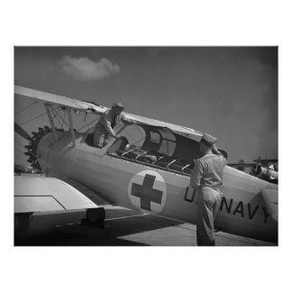 WW2 Red Cross Airplane Poster