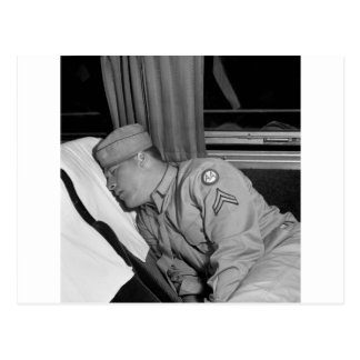 WW2 Soldier Napping, 1943 Postcard