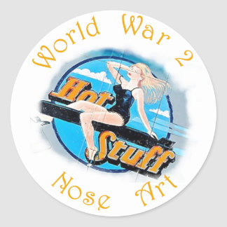 WW 2 Nose Art Classic Round Sticker