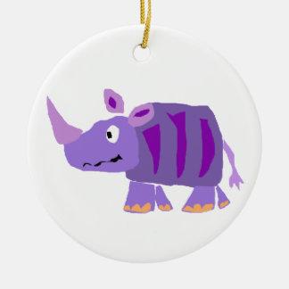 WW- Funky Purple Rhino Primitive Art Cartoon Round Ceramic Ornament