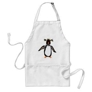WW- Funny Rockhopper Penguin Primitive Art Standard Apron