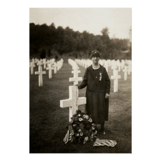 WWI American Mother at her sons grave in France Poster