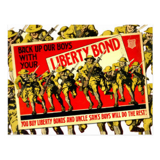 WWI Liberty Bond poster with soldiers Postcard