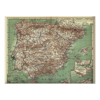 WWI Map of Spain and Portugal Poster