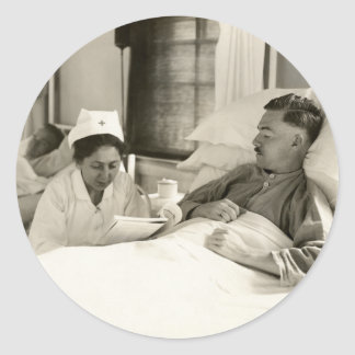 WWI Nurse and Soldier Classic Round Sticker