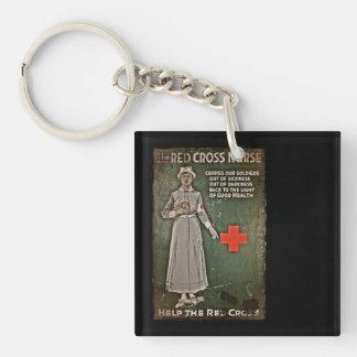 WWI Nurse Raising Funds Double-Sided Square Acrylic Keychain