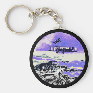 WWI Planes Practicing Attacks Keychain