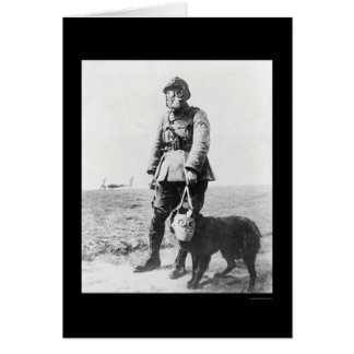 WWI Sergeant and His Dog Wearing Gas Masks 1915 Greeting Card