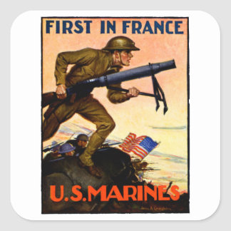 WWI US Marines Square Sticker